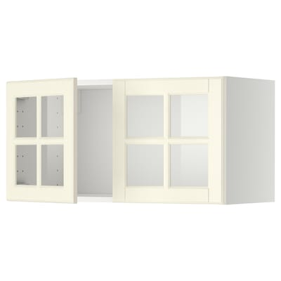 METOD Wall cabinet with 2 glass doors, white/Bodbyn off-white, 80x37x40 cm
