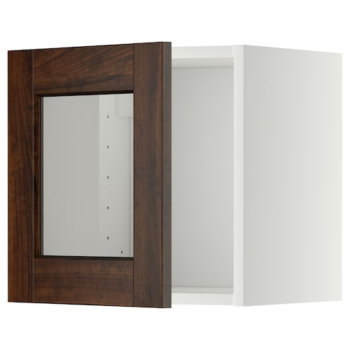 METOD wall cabinet with glass door white/Edserum brown 40.0 cm 37 cm 38.8 cm 40.0 cm