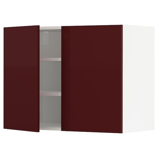 METOD Wall cabinet with shelves/2 doors, white Kallarp/high-gloss dark red-brown, 80x37x60 cm