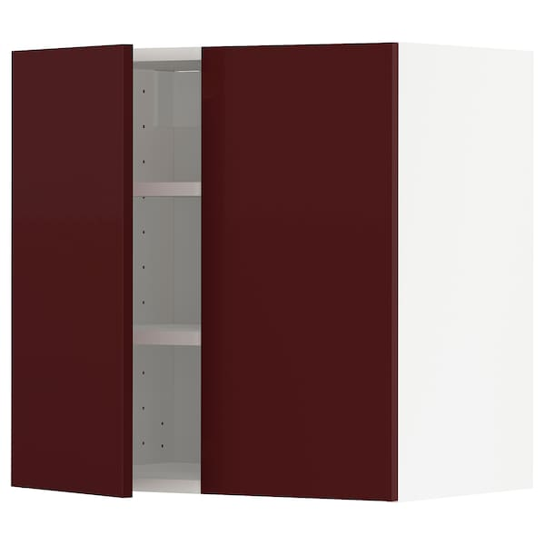 METOD Wall cabinet with shelves/2 doors, white Kallarp/high-gloss dark red-brown, 60x37x60 cm