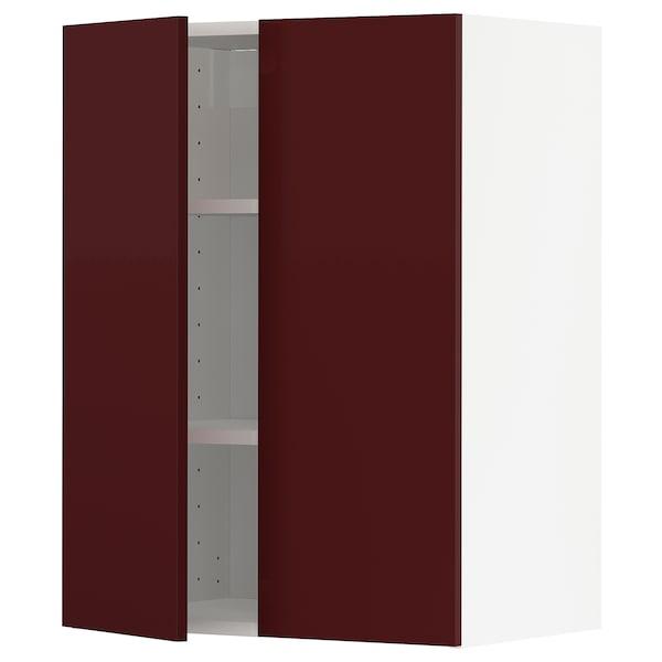 METOD Wall cabinet with shelves/2 doors, white Kallarp/high-gloss dark red-brown, 60x37x80 cm