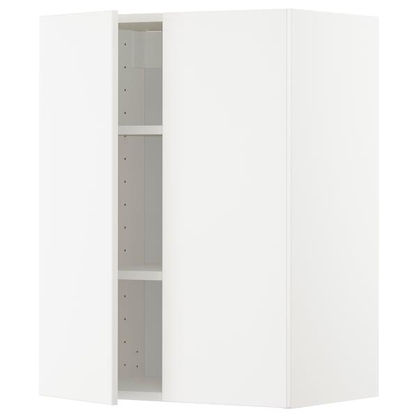 METOD Wall cabinet with shelves/2 doors, white/Veddinge white, 60x37x80 cm