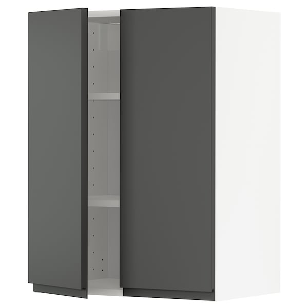 METOD Wall cabinet with shelves/2 doors, white/Voxtorp dark grey, 60x37x80 cm