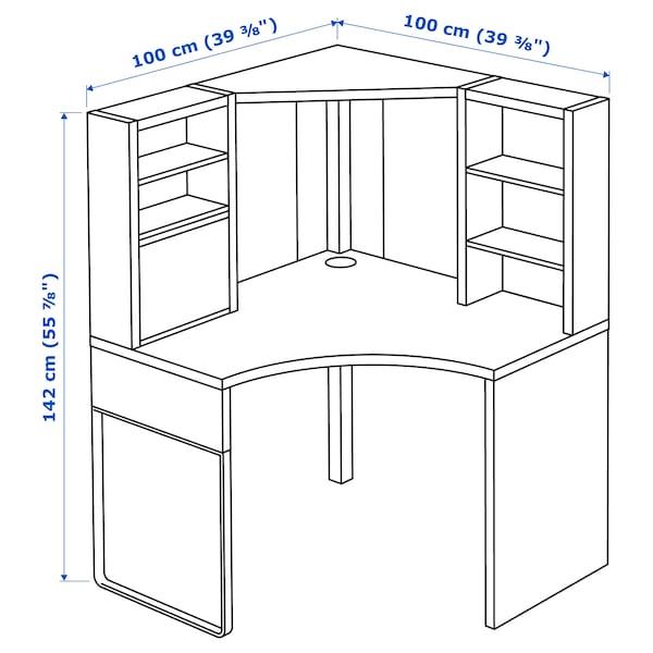 MICKE corner workstation white 100 cm 100 cm 142 cm