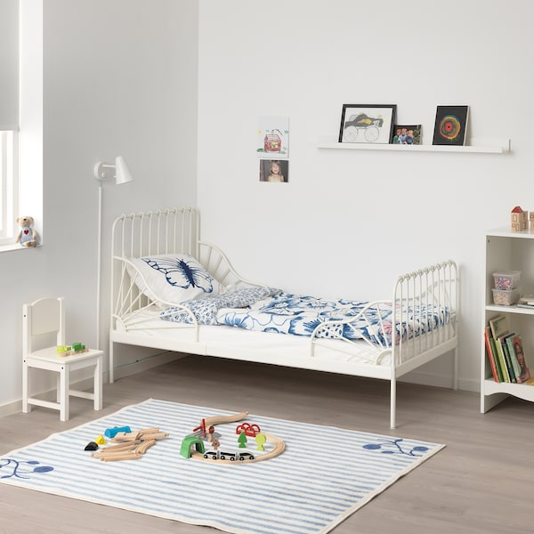 MINNEN Ext bed frame with slatted bed base, white, 80x200 cm