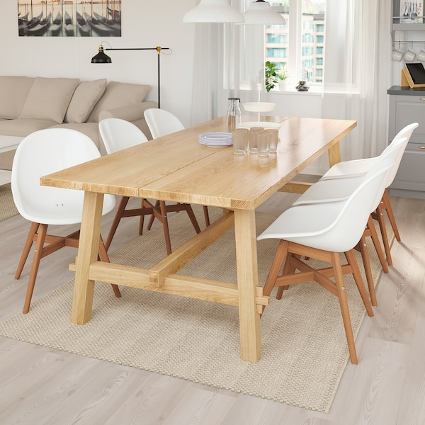 MÖCKELBY / FANBYN table and 6 chairs oak/white 235 cm 100 cm 74 cm