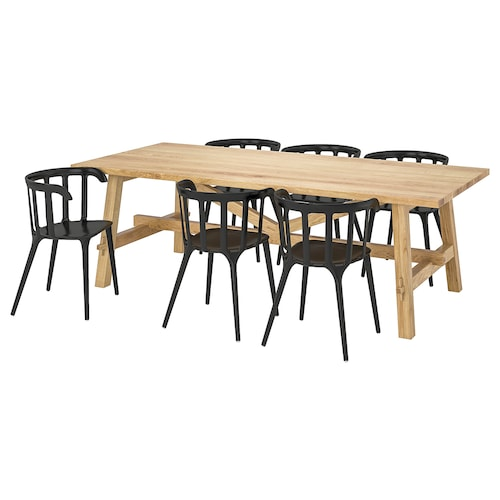 MÖCKELBY / IKEA PS 2012 table and 6 chairs oak/black 235 cm 100 cm 74 cm