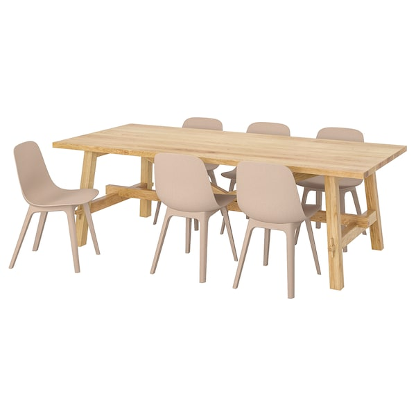 MÖCKELBY / ODGER Table and 6 chairs, oak/white/beige, 235x100 cm