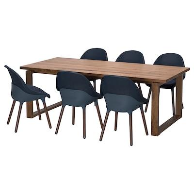 MÖRBYLÅNGA / BALTSAR Table and 6 chairs, oak veneer brown stained/black-blue, 220x100 cm