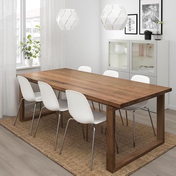 MÖRBYLÅNGA / LEIFARNE table and 6 chairs brown/white 220 cm 100 cm 74 cm