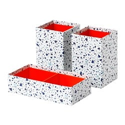 MÖJLIGHET box, set of 3, red, mosaic patterned