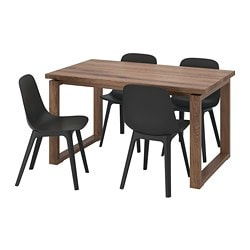 MÖRBYLÅNGA /  ODGER table and 4 chairs, oak veneer brown stained, anthracite