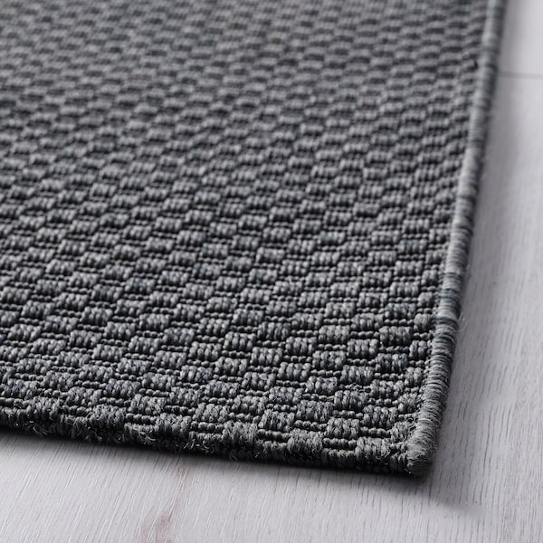 MORUM Rug flatwoven, in/outdoor, dark grey, 80x200 cm