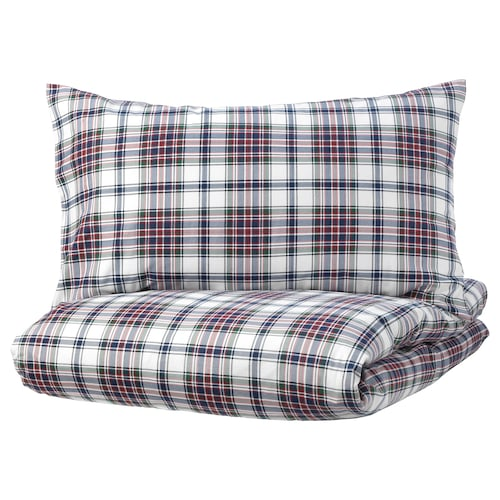 MOSSRUTA Quilt cover and 2 pillowcases, multicolour/check, 200x230/50x80 cm