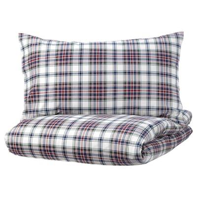MOSSRUTA Quilt cover and pillowcase, multicolour/check, 150x200/50x80 cm