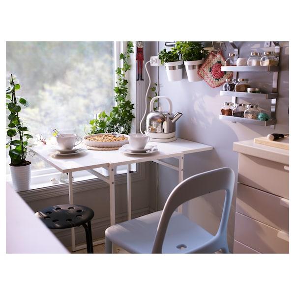 MUDDUS Drop-leaf table, white, 48/92x60 cm
