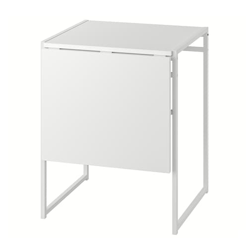 MUDDUS Drop-leaf table, white, 48/92x60 cm