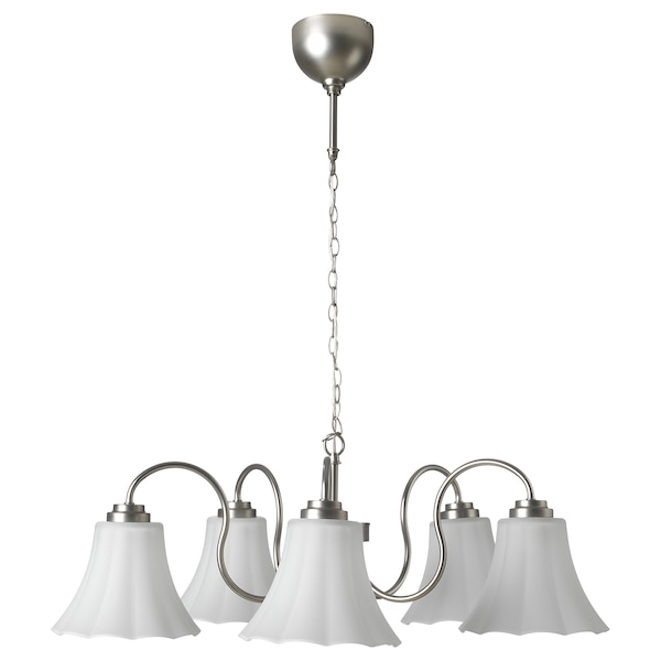 MUGGEBO chandelier, 5-armed nickel-plated/glass 71 cm 1.5 m