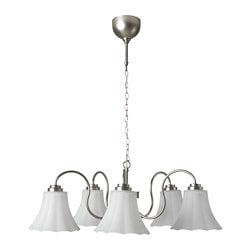 MUGGEBO chandelier, 5-armed, nickel-plated, glass