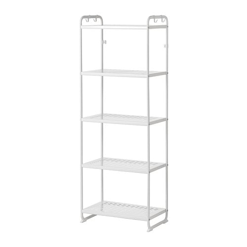 MULIG Shelving unit IKEA Can also be used in bathrooms and other damp areas indoors. The shelves are hardwearing, stain resistant and easy to clean.