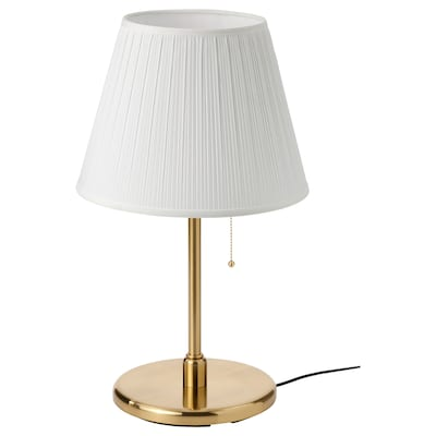 MYRHULT / KRYSSMAST Table lamp, white/brass-plated