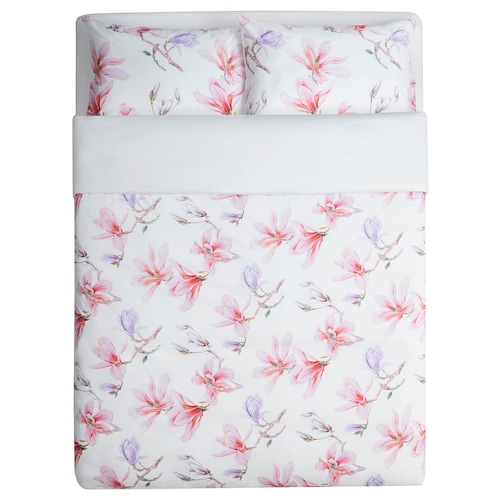 MYRNÄVA Quilt cover and 2 pillowcases, floral patterned, 200x230/50x80 cm