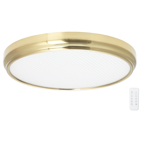 MYSKJA LED ceiling lamp w remote control dimmable brass-colour 10 cm 60 cm 42 W