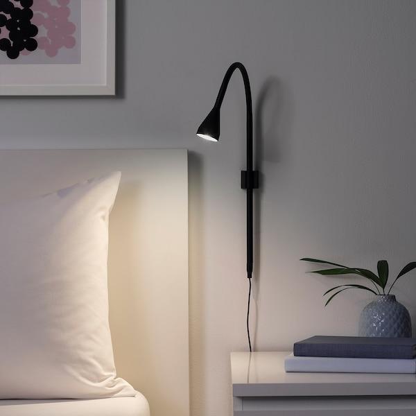NÄVLINGE LED wall/clamp spotlight black 220 lm 63 cm 2.0 m 2.6 W 25000 hr