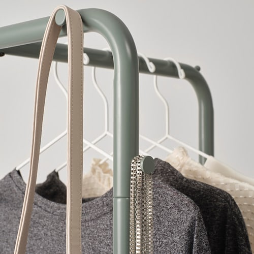 NIKKEBY Clothes rack IKEA The assembly screws also work as hooks for hanging additional items such as bags, scarfs and jackets.