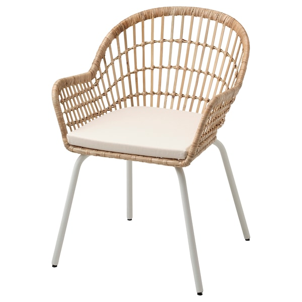 NILSOVE / NORNA chair with chair pad rattan white/Laila natural 110 kg 57 cm 57 cm 82 cm 42 cm 40 cm 44 cm