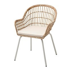 NILSOVE /  NORNA chair with chair pad, rattan white, Laila natural
