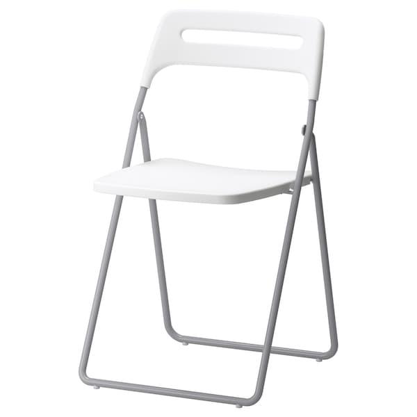 NISSE folding chair silver-colour/white 100 kg 45 cm 47 cm 76 cm 39 cm 42 cm 45 cm