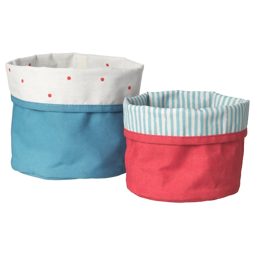NÖJSAM basket, set of 2 red/blue