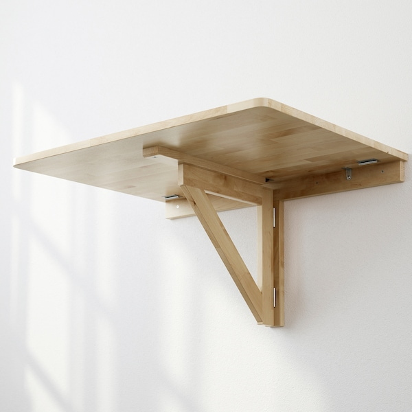 NORBO wall-mounted drop-leaf table birch 79 cm 59 cm 8 cm