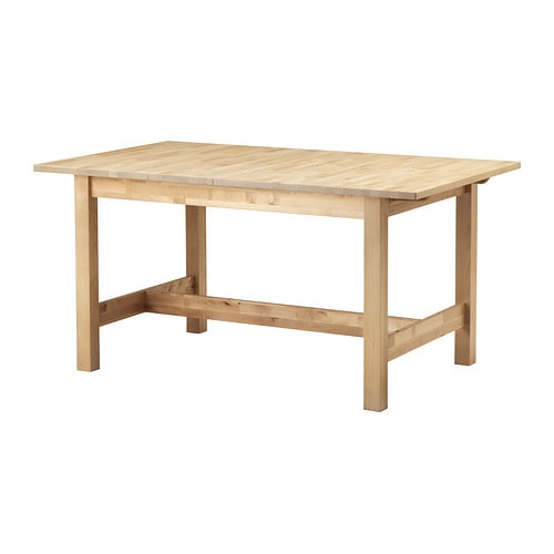 NORDEN Extendable table IKEA Extendable dining table with 1 extra leaf seats 4-6; makes it possible to adjust the table size according to need.