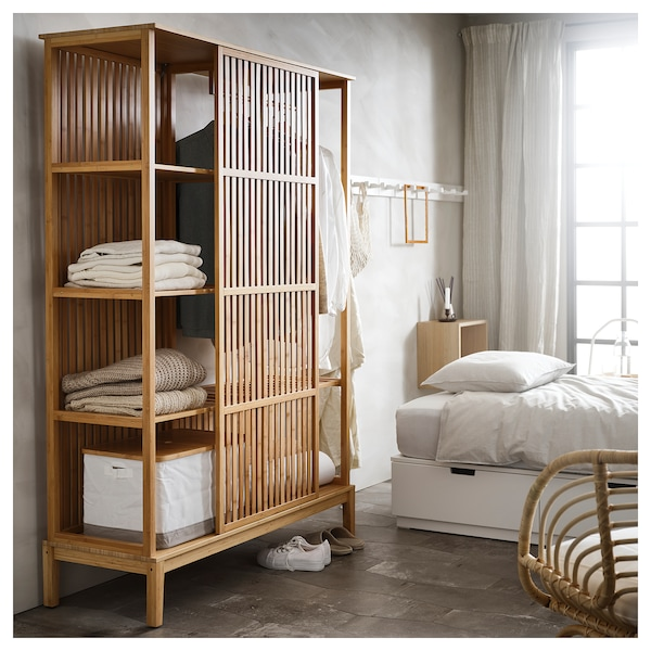 NORDKISA open wardrobe with sliding door bamboo 120 cm 47 cm 186 cm