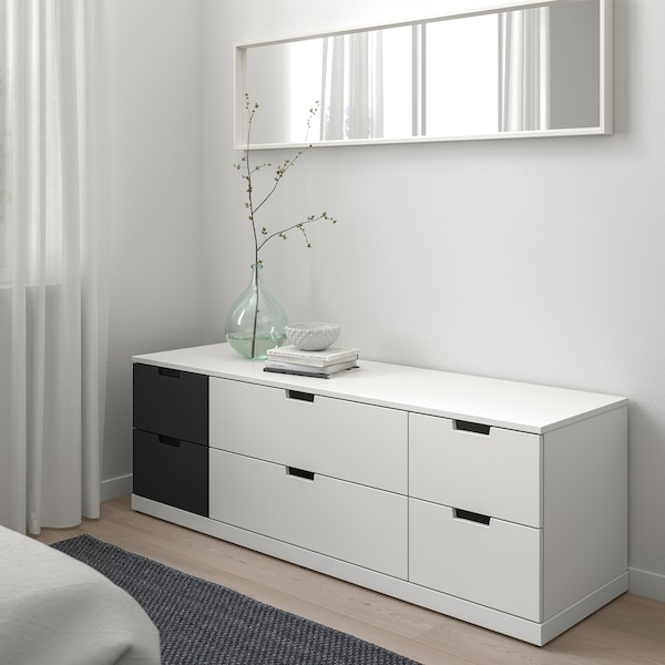 NORDLI chest of 6 drawers white/anthracite 160 cm 47 cm 54 cm 37 cm