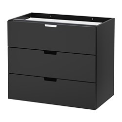 NORDLI modular chest of 3 drawers, anthracite