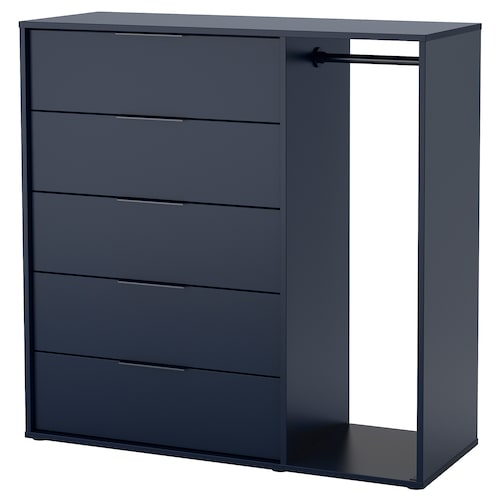 NORDMELA chest of drawers with clothes rail black-blue 119 cm 44 cm 118 cm 74 cm 34 cm