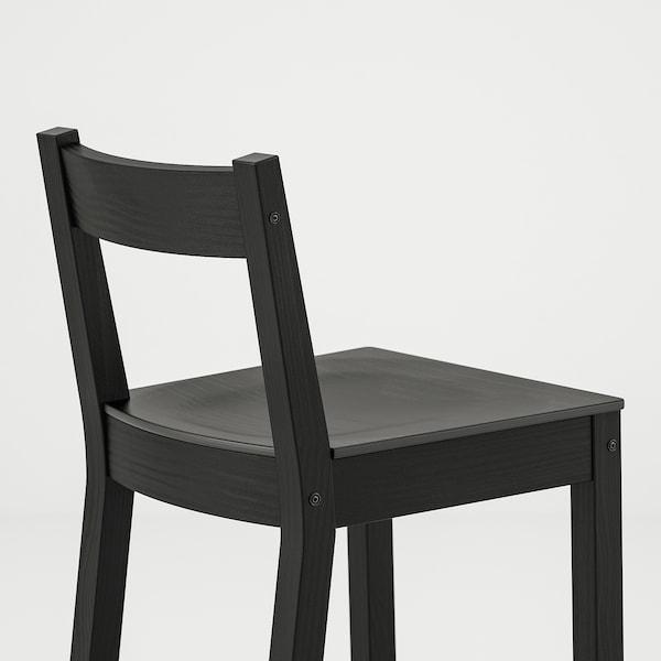NORDVIKEN Bar stool with backrest, black, 62 cm