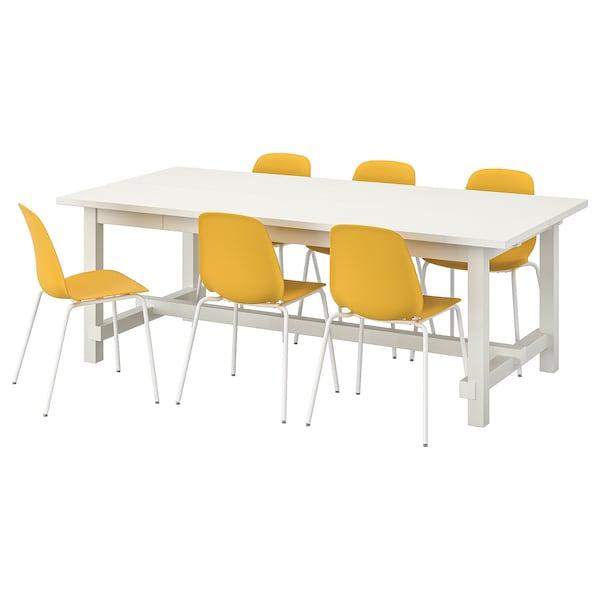 NORDVIKEN / LEIFARNE table and 6 chairs white/dark yellow white 210 cm 289 cm 105 cm