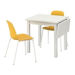 NORDVIKEN /  LEIFARNE table and 2 chairs, white, Broringe dark yellow