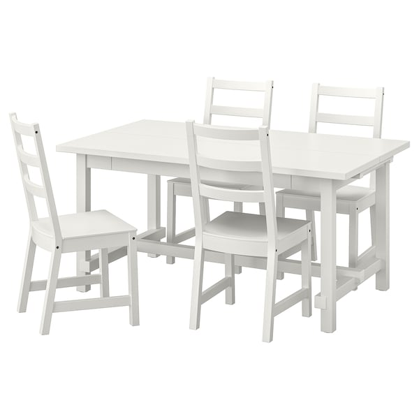 NORDVIKEN Table and 4 chairs, white/white, 152/223x95 cm