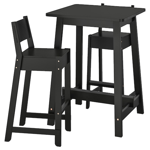 NORRÅKER / NORRÅKER bar table and 2 bar stools black/black 74 cm 74 cm 104 cm