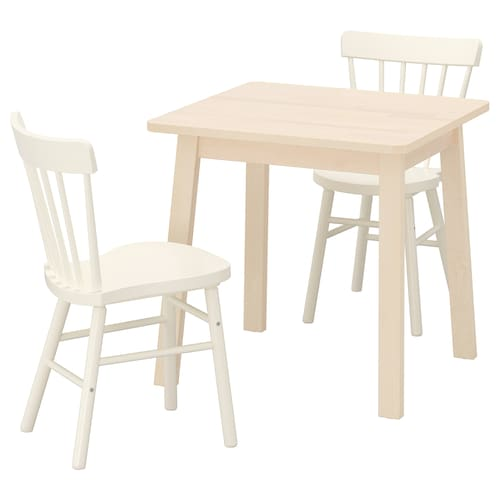 NORRÅKER / NORRARYD table and 2 chairs birch/white 74 cm 74 cm