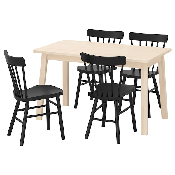 NORRÅKER / NORRARYD table and 4 chairs birch/black 125 cm 74 cm