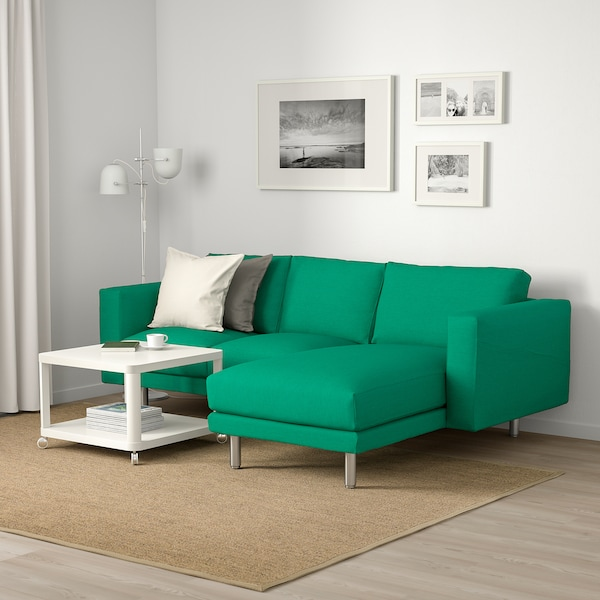 NORSBORG 3-seat sofa, with chaise longue/Edum bright green/metal