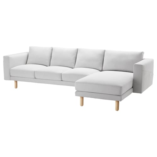 NORSBORG 4-seat sofa, with chaise longue/Finnsta white/birch