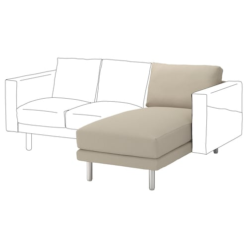 NORSBORG chaise longue section Edum beige/metal 80 cm 157 cm 85 cm 129 cm 43 cm