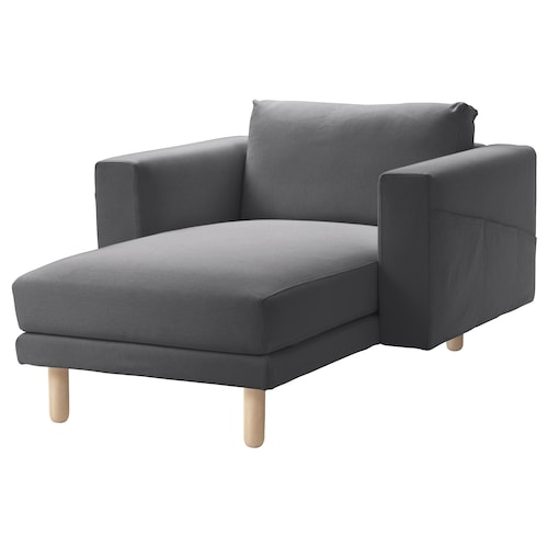 NORSBORG chaise longue Finnsta dark grey/birch 110 cm 157 cm 85 cm 129 cm 43 cm